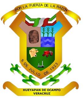 El escudo de armas del H. Ayuntamiento de Hueyapan de Ocampo,